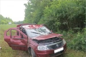 На дятьковской трассе водитель угодил на машине в кювет, ранен его 11-летний сын