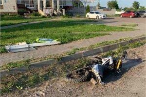 Пьяный мотоциклист в посёлке под Брянском протаранил дорожный знак