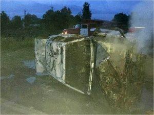 В Брянске поздно вечером сгорела легковая машина. Дотла