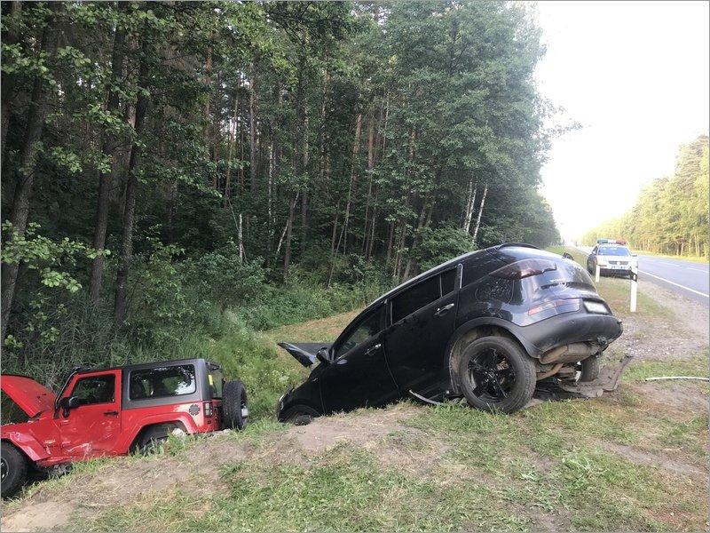 На объездной дороге вокруг Брянска  в кювет улетели кроссовер и внедорожник