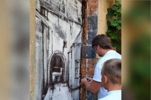 В Брянске  во дворе на Набережной появилось «окно в прошлое»