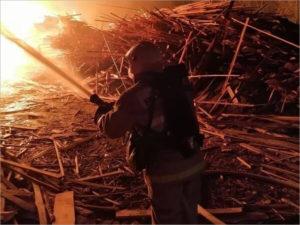Горящий склад пиломатериалов в Большом Полпино брянские пожарные тушили 8,5 часов