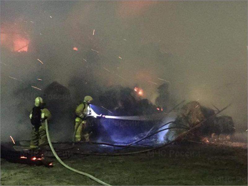 В Радице-Крыловке брянские пожарные два часа тушили сеновал