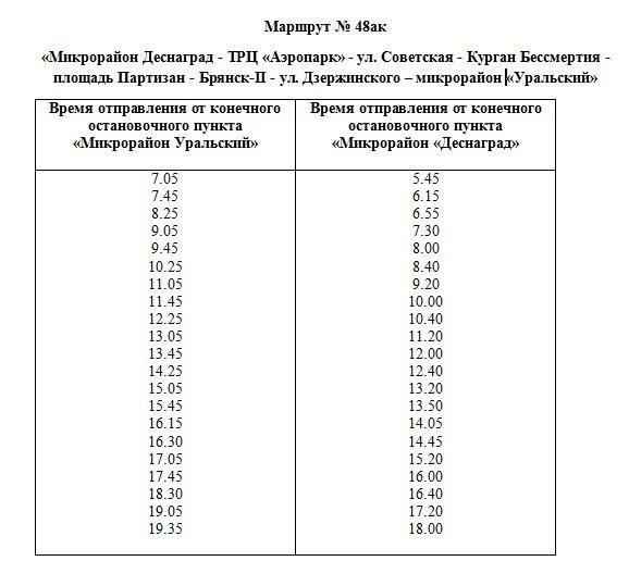 Новый автобус №48 «Деснаград — Ходаринка» в Брянске запустят с 8 декабря (расписание)