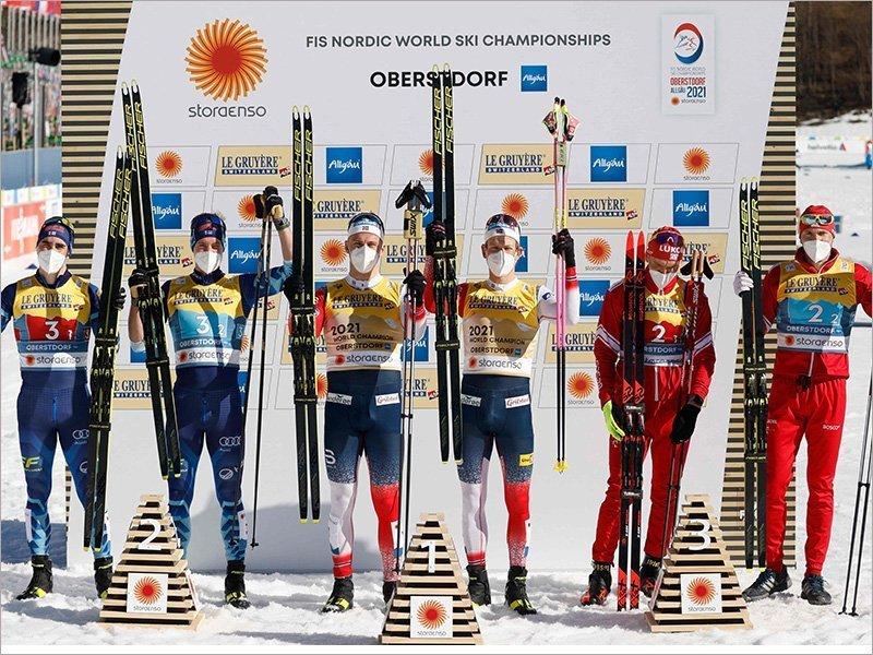 Александр Большунов снова провёл выдающуюся гонку. Но выиграть ему помешал напарник