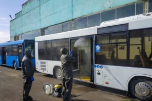 В Брянске снова продезинфицировали автобусы