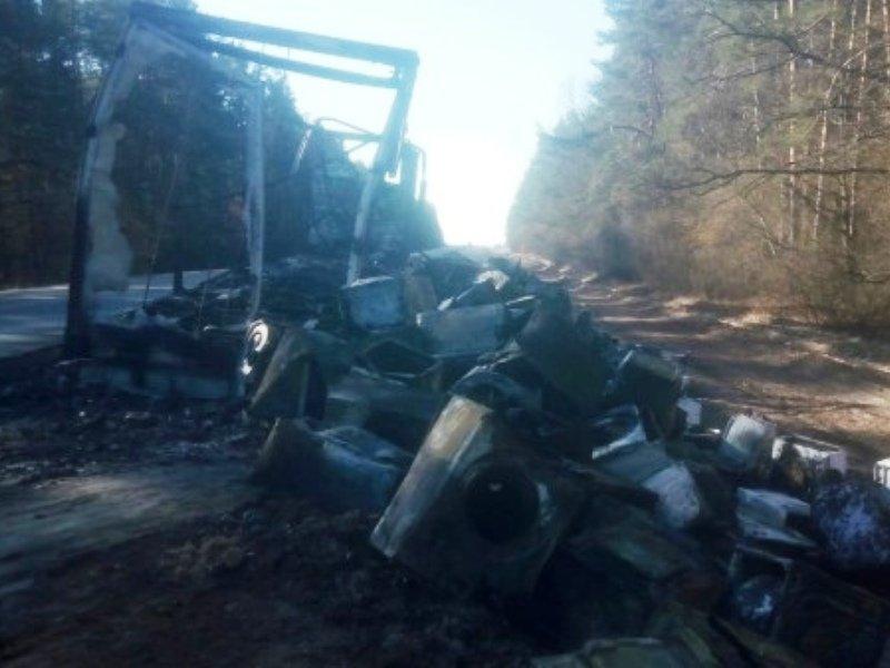 В Брянской области сгорела фура с бытовой техникой