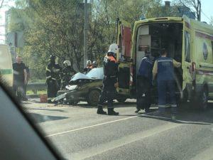 На выезде из Брянска «девятка» протаранила машину инкассаторов