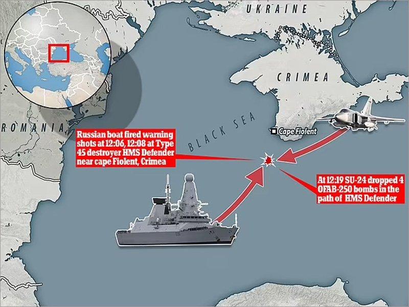 Инцидент в Чёрном море: Су-24 отогнал британский эсминец от российской границы бомбами. Британцы заявили, что их никто не гонял