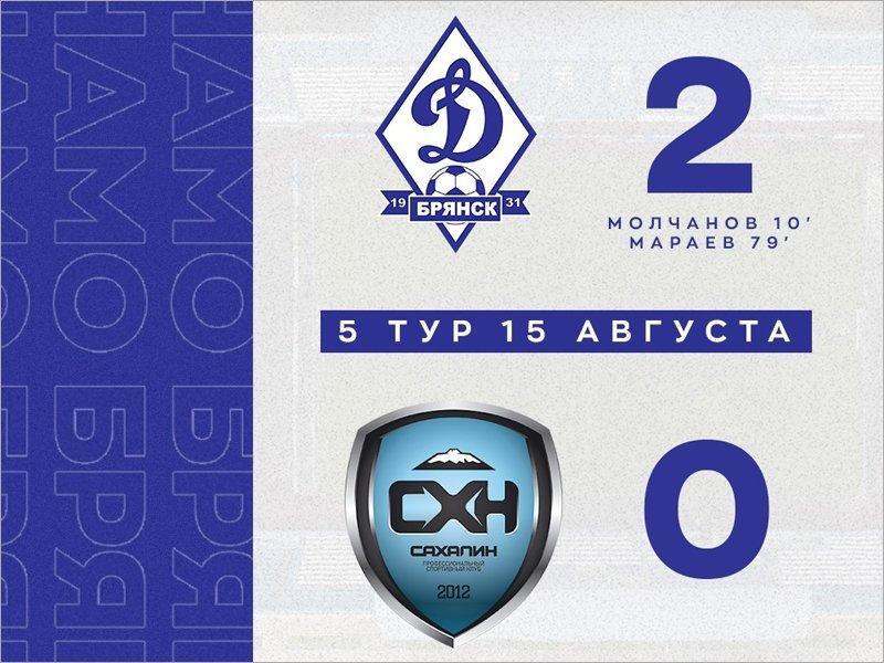 Брянское «Динамо» без зрителей одолело «Сахалин» и поднялось на третье место