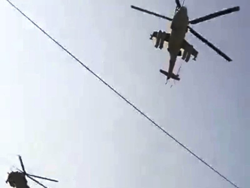 Пара вертолётов Ми-24 отстрелялась по Брянску. Условно