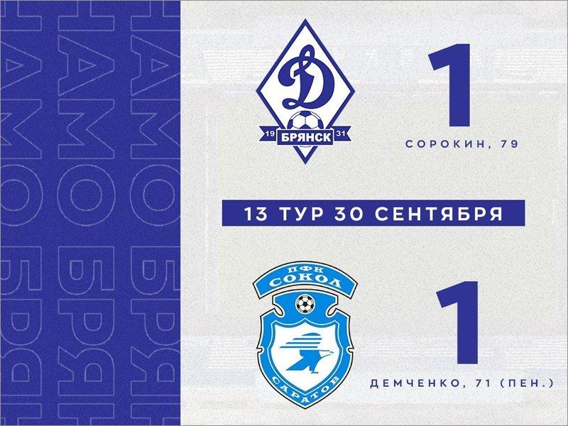 Брянское «Динамо» сыграло вничью с лидером турнирной таблицы